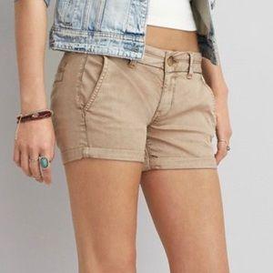AEO khaki stretch twill x midi shorts